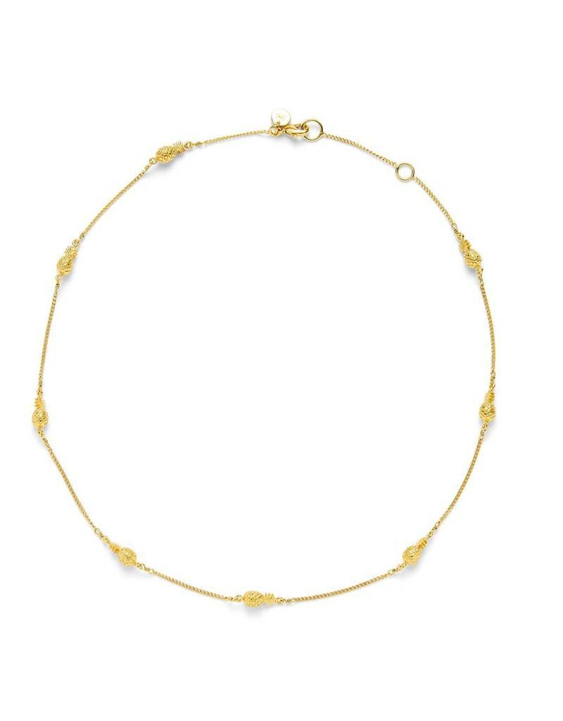 Julie Vos Pineapple Delicate Station Necklace Gold