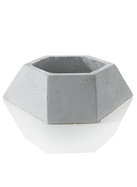 Accent Decor White Clay Polygon Shallow Flux Planter