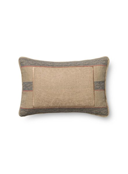 Loloi Beige & Blue Embroidered Pillow