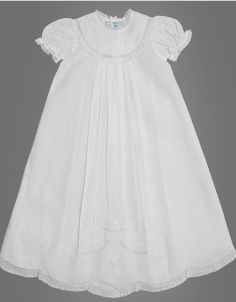 FELTMAN BROS FELTMAN BROTHERS PIN TUCKED YOKE CHRISTENING GOWN W/HAT