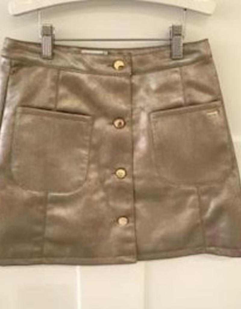 MAYORAL MAYORAL GOLD FAUX LEATHER SKIRT