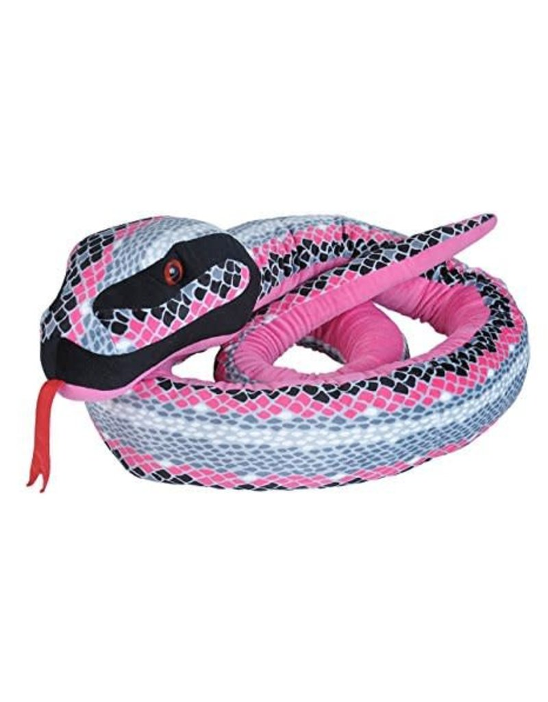Wild Republic Jumbo Pink & Grey Scale Plush Snake