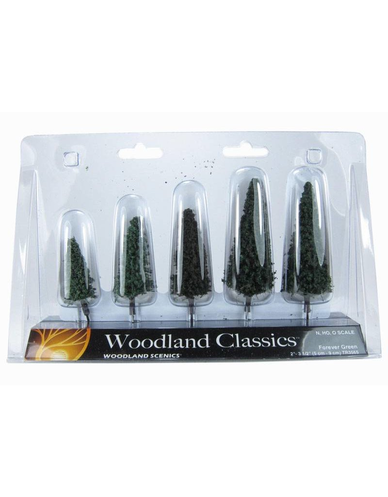 "Woodland Scenics Classics Tree, Forever Green 2.5-4"" (5)"