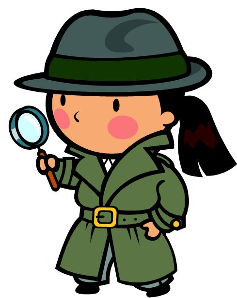 Spy with magnifying glass