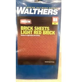 "Walthers Brick Sheet - 4 x 9-3/4""  10.1 x 24.7cm pkg(4) -- Light Red"