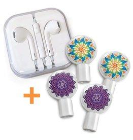 Deka Slides Mandala flower + purple mandala earbuds