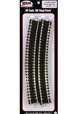 "ATL Curved Snap-Track(R) Nickel-Silver Rail -- 18"" Radius Black Ties pkg(6)"