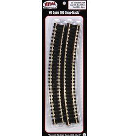 "ATL Curved Snap-Track(R) Nickel-Silver Rail -- 18"" Radius Black Ties pkg(6)"