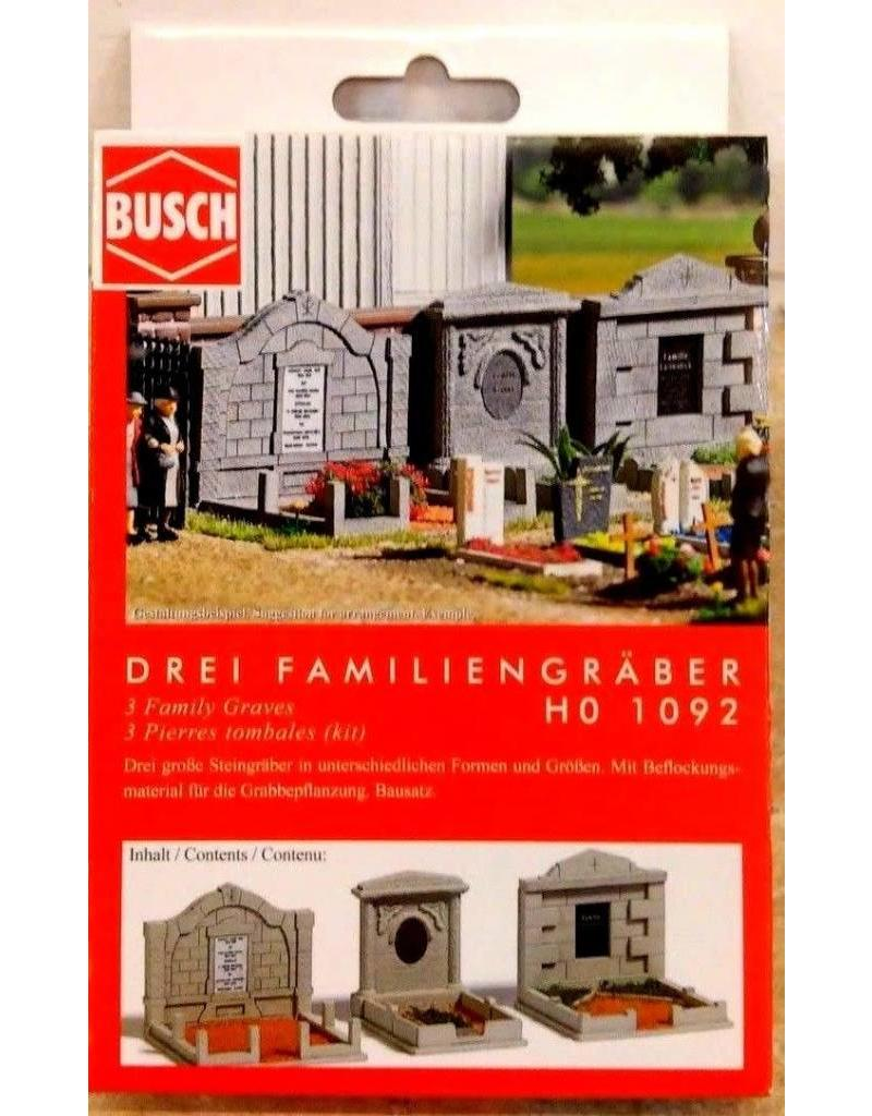 Busch BUSCH HO SCALE 3 FAMILY GRAVES for CEMETERY DIORAMA 1-87