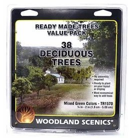 "Woodland Scenics Mixed Green Deciduous Tree Pack - Ready Made Trees(TM) -- 3/4 to 2""  1.9 to 5.1cm pkg(38)"