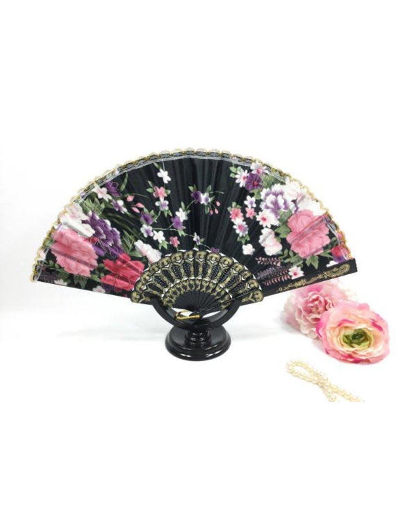 Rhode Island Novelty Black Floral Fan