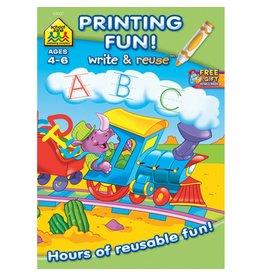 School Zone Write & Reuse Workbook-Printing Fun - Ages 4-6