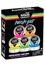 "Crazy Aaron Putty 5 neon 2"" tins packed in a gift set Neon Blue, Neon Green, Neon Yellow, Neon Orange, Neon Pink)"