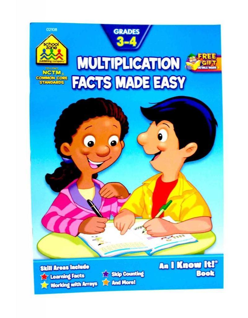 School Zone Curriculum Workbook - Multiplication Facts - Grades 3-4
