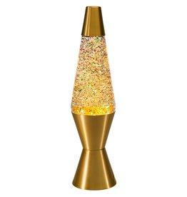 "Lava Lite 14.5"" Lava Lamp - Gold/Rainbow Glitter"