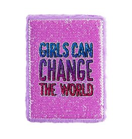 3 Cheers for Girls Girls Can Change the World - Magic Sequin Journal