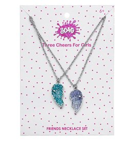 3 Cheers for Girls Best Friends Necklace Set - Glitter Hearts