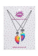 3 Cheers for Girls Best Friends Necklace Set - Tie Dye Hearts