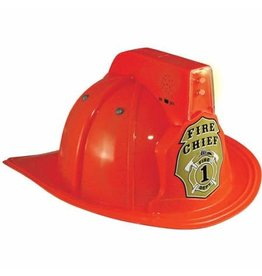 Aeromax Jr. Firefighter Helmet, Red, w/Siren & Light, Adj Youth Size