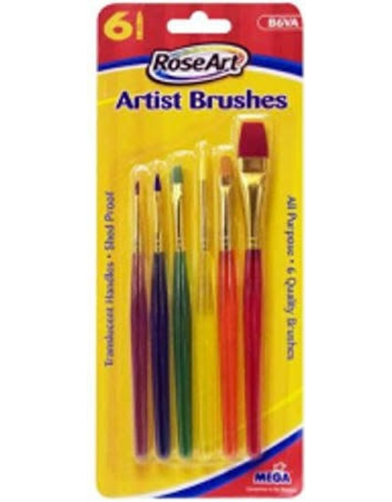 RoseArt 6 Artist Brushes Translucent Handle