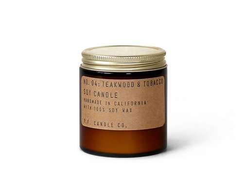 P.F. Candle Co. 04 Teakwood & Tobacco 3.5 oz Soy Candle