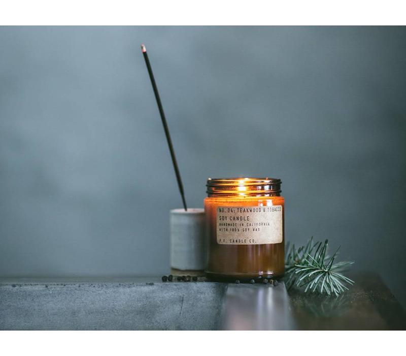 P.F. Candle Co. -  04 Teakwood & Tobacco 3.5 oz Soy Candle