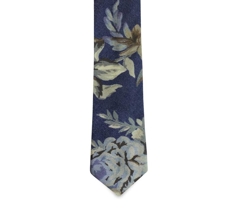 The AJG Denim Floral Tie