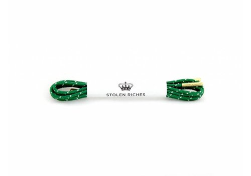 Stolen Riches Green / White Polkadot Shoe Laces - Gold Tips