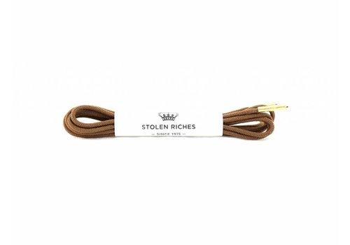 Stolen Riches Light Brown Shoe Laces - Gold Tips