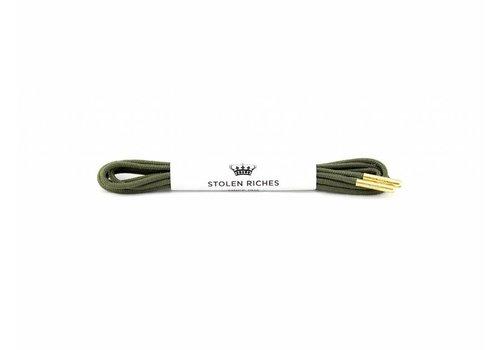 Stolen Riches Olive Shoe Laces - Gold Tips