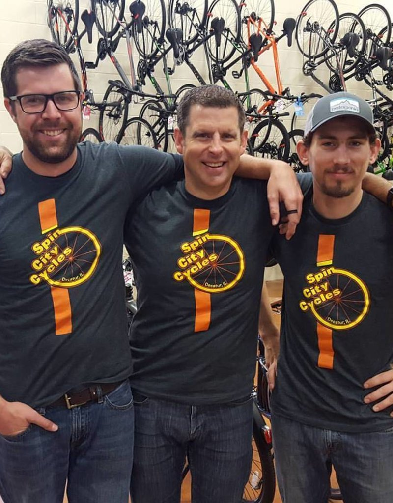Spin City Cycles T-shirt SCC Char/Org/Yel Next Level