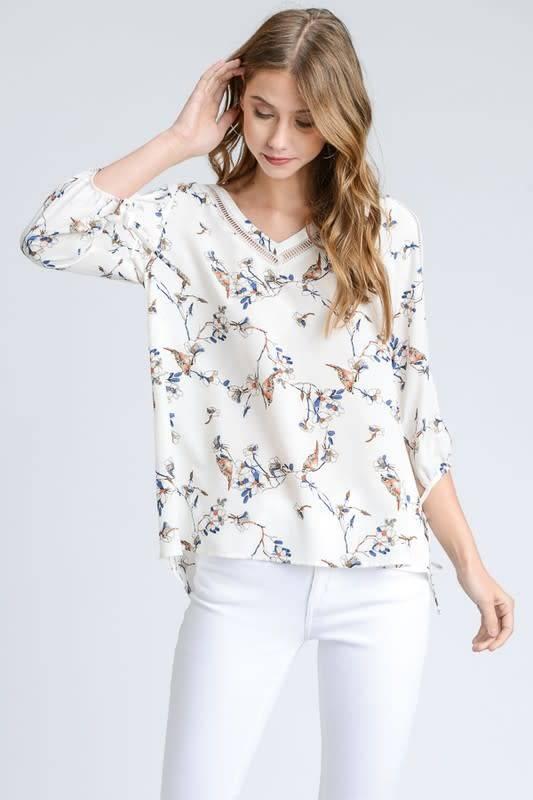 3/4 Ivory Side Sleeve Slit Floral Bird Blouse