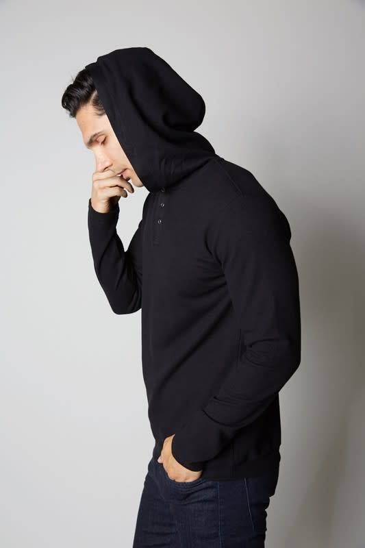 3 Button premium Thermal Hoodie