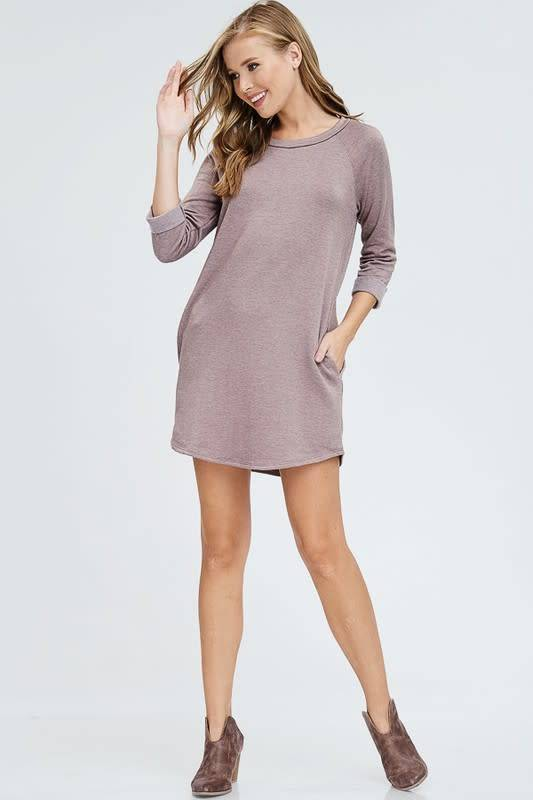 cherish 3/4 Sleeve Super Soft Dress w/ Pockets