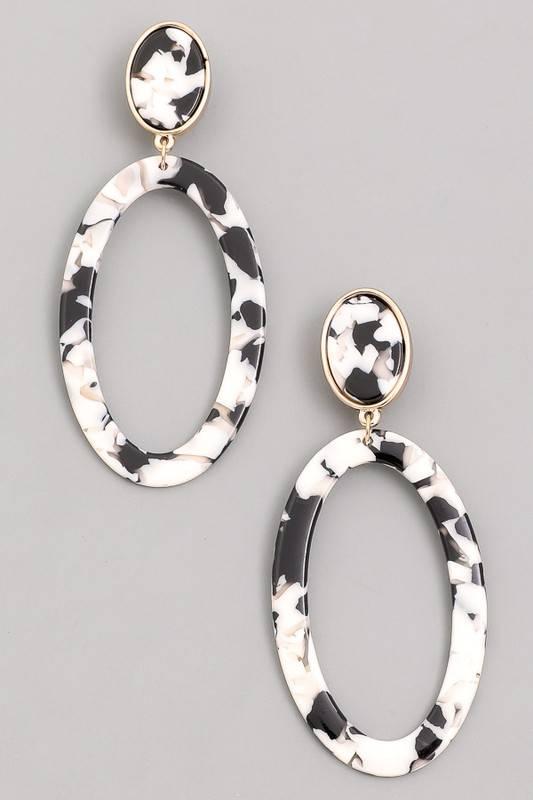 Acetate Oval Drop Earrings