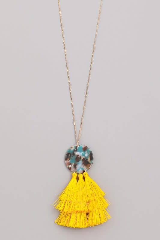 Acetate Coin Tassel Pendant Necklace