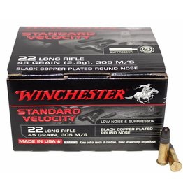 Winchester WINCHESTER STANDARD VELOCITY AMMO 22LR BLACK COPPER-PLATED ROUND NOSE 45GR 305M/S
