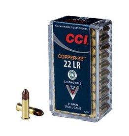 CCI CCI AMMO COPPER-22  22LR 1850FPS 21 GRAIN (SMALL GAME) 50 CARTRIDGES