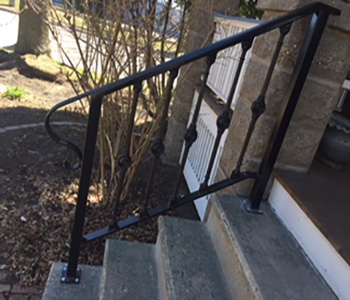 Customer's custom railing made from wrought iron pieces