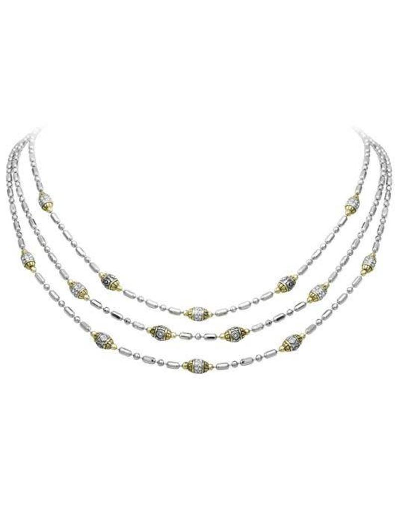 JOHN MEDEIROS N2794-A000 BEADED TWO TONE TRIPLE STRAND NECKLACE
