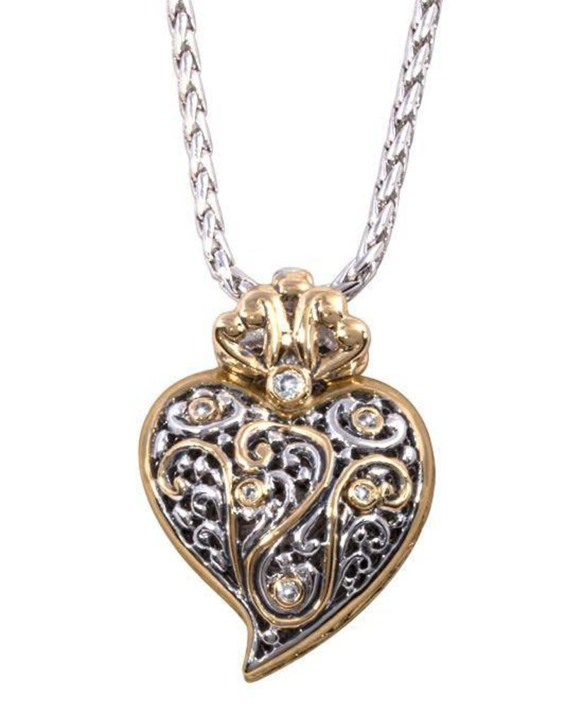 JOHN MEDEIROS K4059-AF05 VIANA FILIGREE HEART PENDANT NECKLACE