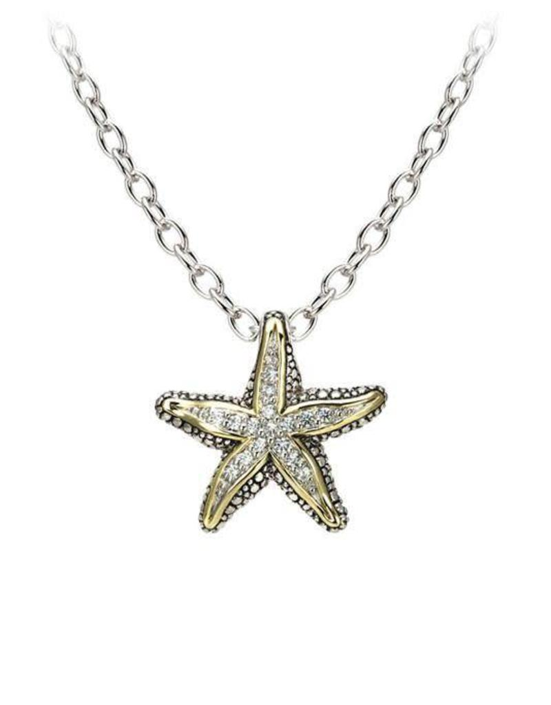 JOHN MEDEIROS K3909-AF03 OCEAN IMAGES SEASIDE COLLECTION PAVÉ STARFISH SLIDER NECKLACE