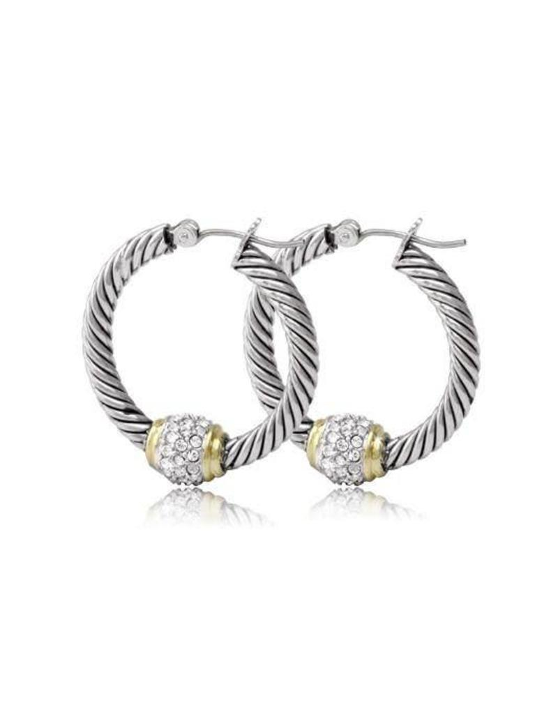 JOHN MEDEIROS G2938-AF00 ANTIQUA PAVÉ TWISTED WIRE HOOP EARRINGS ...