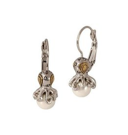 JOHN MEDEIROS F4004-AB00 OCEAN IMAGES AQUA VIVA SEASIDE COLLECTION OCTOPUS FRENCH WIRE PEARL EARRINGS