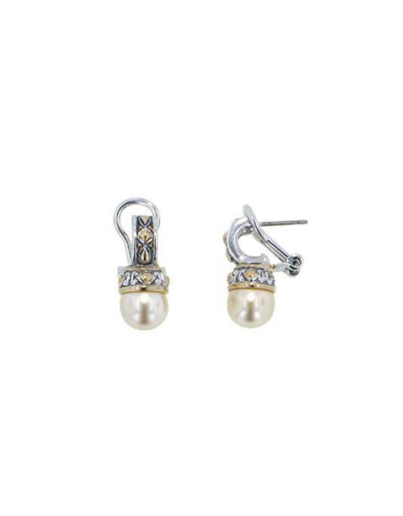 John Medeiros E2855 Ab00 8mm Ocean Images Small Pearl Earrings