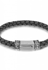 AS-B52 GREEK DESIGN GRAY LEATHER BRACELET