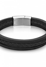 AS-B66 TRIPLE STRAND BLACK LEATHER BRACELET