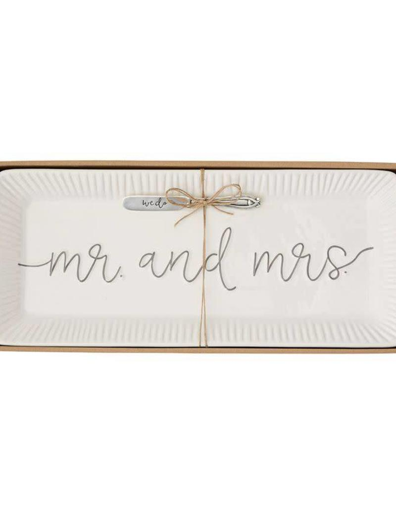 MUD PIE 4075127 MR. & MRS. CERAMIC HOSTESS TRAY SET