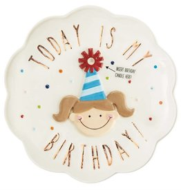 MUD PIE 2002290 BIRTHDAY GIRL CERAMIC CANDLE PLATE