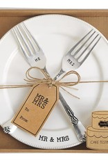 MUD PIE 4235006 MR & MRS CERAMIC PLATE & FORK SET